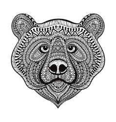Zentangle stylized Bear face Hand Drawn doodle vector image
