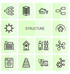 14 structure icons vector