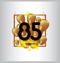 85 year anniversary black gold balloon template vector