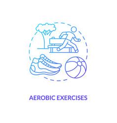 Aerobics exercise blue gradient concept icon vector