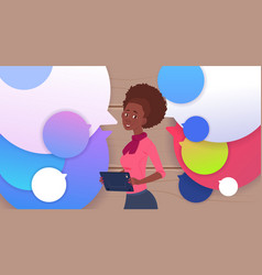 african american businesswoman holding tablet vector image