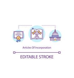 Articles incorporation concept icon vector