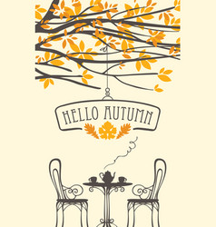 autumn banner with ftable for two vector image