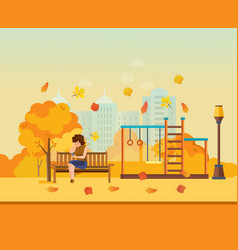 Autumn kids playground girl resting in park vector
