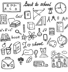 Back to School Supplies Sketchy Doodles set with vector image