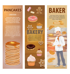 Bakery bread desserts and baker banners vector