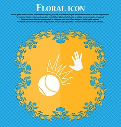 Basketball icon Floral flat design on a blue vector