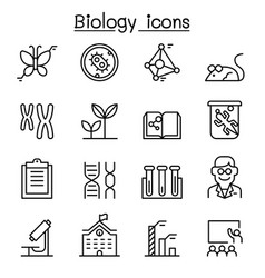 biology icon set in thin line style vector image