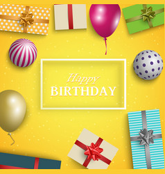 birthday card with gifts balloons and balls vector image
