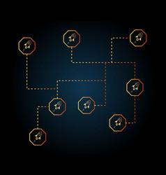 Blockchain stellar style networking background vector