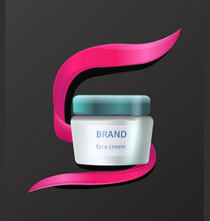 Brand face cream product advertising with cosmetic vector