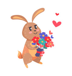 bunny with bouquet of flowers isolated on white vector image
