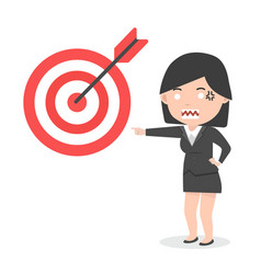 Businesswoman pointing to them target vector