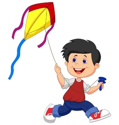 Cartoon boy playing kite vector