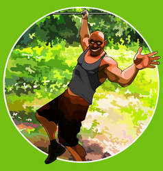 Cartoon funny muscular man hanging on one hand on vector
