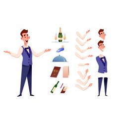 Cartoon waiter at restaurant creation vector