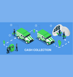 Cash collection isometric infographics vector