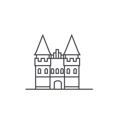 Castle in europe line icon sign vector