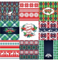 Christmas and New Year Set Knitted backgrounds vector