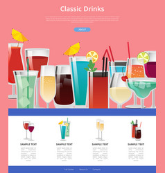 classic drinks web poster with samples of alcohol vector image