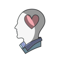 Color silhouette head with heart inside vector