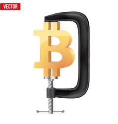 Cryptocurrency symbol bitcoin under pressure vector