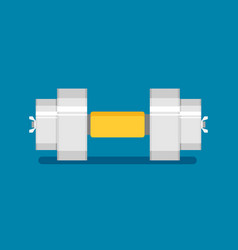 dumbbell flat icon with shadow vector image