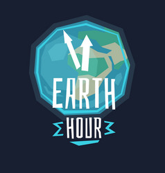 earth hour with lamp vector image