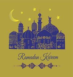 Eid mubarak greetings in gold vector image