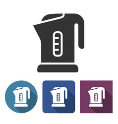electric kettle icon in different variants vector image