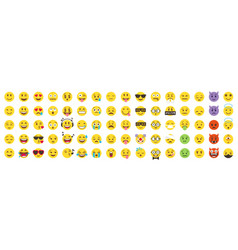 Emoticon big set emoji pack all face and hand vector