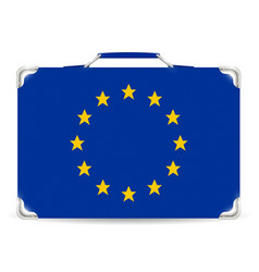 europe flag on suitcase travel bag vector image