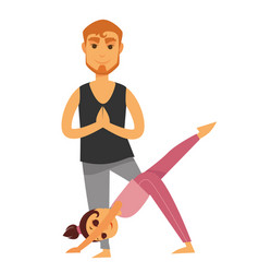 Father and daughter does yoga exercises isolated vector