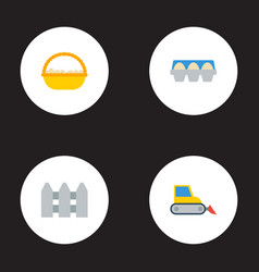 flat icons bulldozer tray of eggs container and vector image