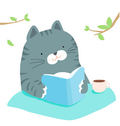 Fluffy cat reading book in garden vector