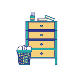 Full color cabinet archive with papers can and vector