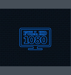 full hd widescreen tv 1080p symbol vector image