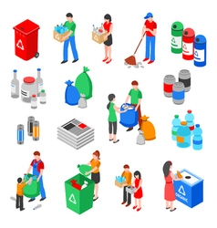 Garbage Recycling Elements Set vector