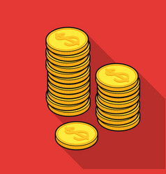 Golden coins icon in flat style isolated on white vector