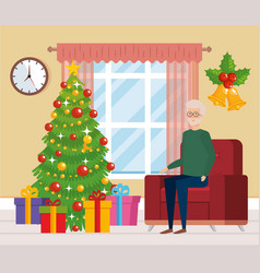 Grandfather in livingroom with christmas clothes vector