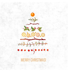 greeting card with christmas decorations in shape vector image