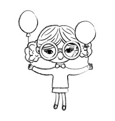 Grunge nice girl child with glasses and balloons vector