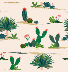 Hand drawing cactus and succulent plants vector
