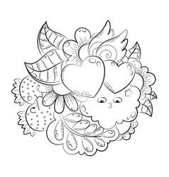 hand drawn funny heart cat bird sweet vector image