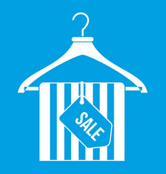 hanger with sale tag icon white vector image
