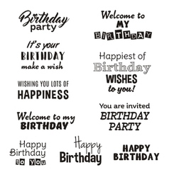 Happy birthday typography text isolated on white vector
