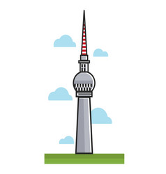 High berlin tv tower among clouds cartoon vector