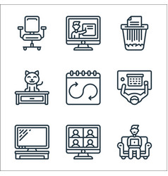 Home office line icons linear set quality line vector