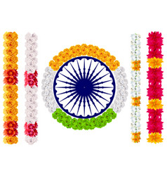 Indian flower garland mala india flag and ashoka vector