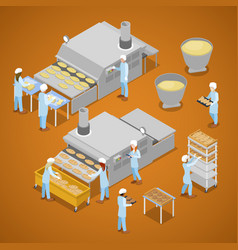 interior of baking production isometric vector image